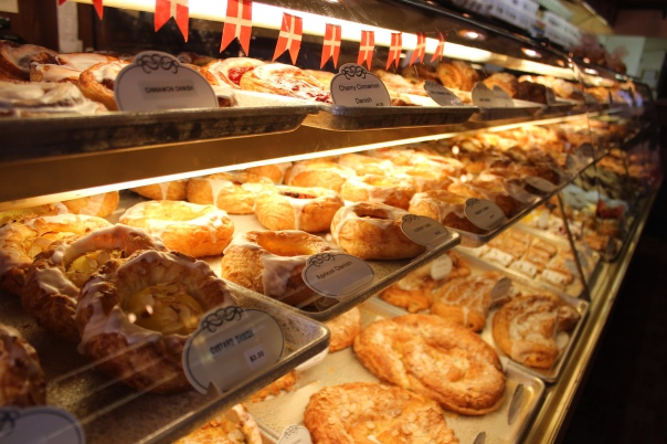 The glowing display case at The Danish Mill Bakery contains so many pastries that making a choice is a time consuming affair. This place pales in comparison to just about any European pastry shop, nevertheless we stop in every time we visit Solvang.