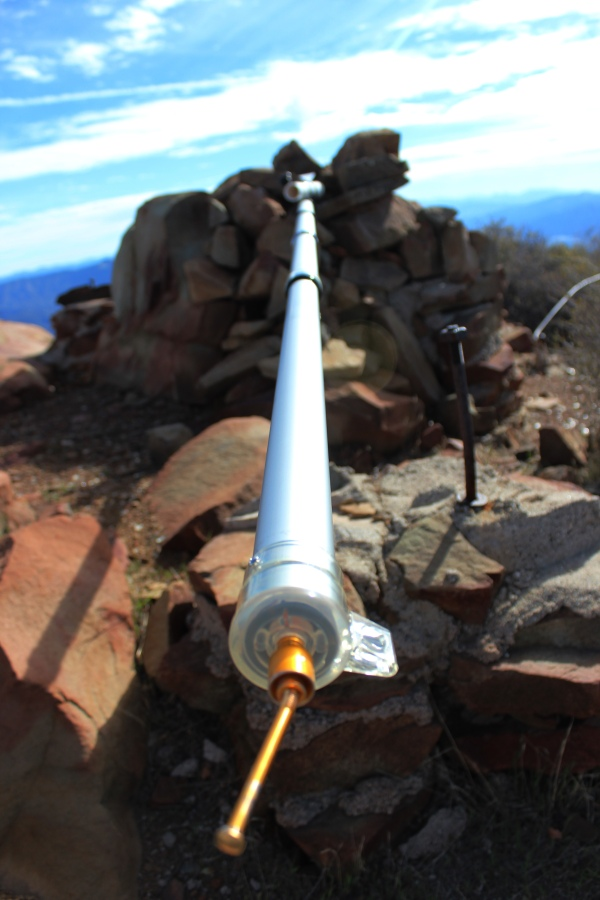 Some type of transmitter that had snapped and lay horizontally on the summit.