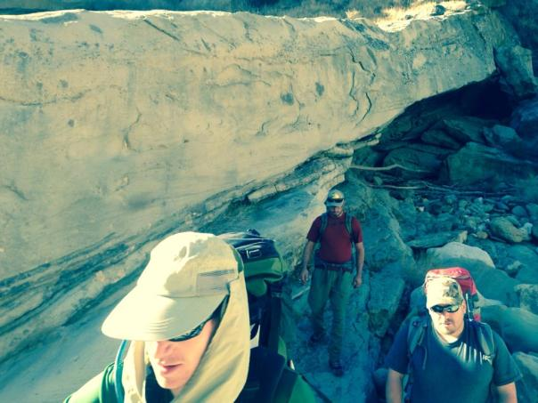 The author, Willow and Kyle pass a long overhang  in the Sespe Creek.