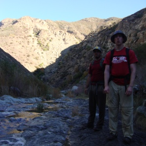 Paul(foreground) and Kyle after we pass an area teeming with springs and smelling of sulfur.