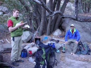 "Paul and Kyle resting after the days hike. ""That was the ultimate Sespe experience,"" Paul said."