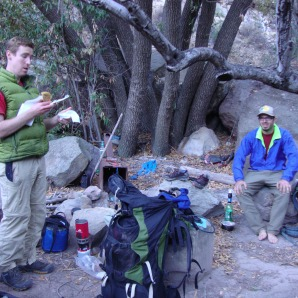 """Paul and Kyle resting after the days hike. """"That was the ultimate Sespe experience,"""" Paul said."""